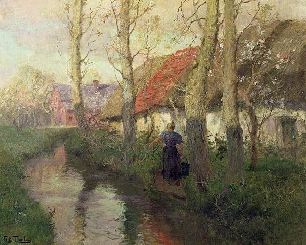 A French River Landscape With A Woman By Cottages Print by Fritz Thaulow