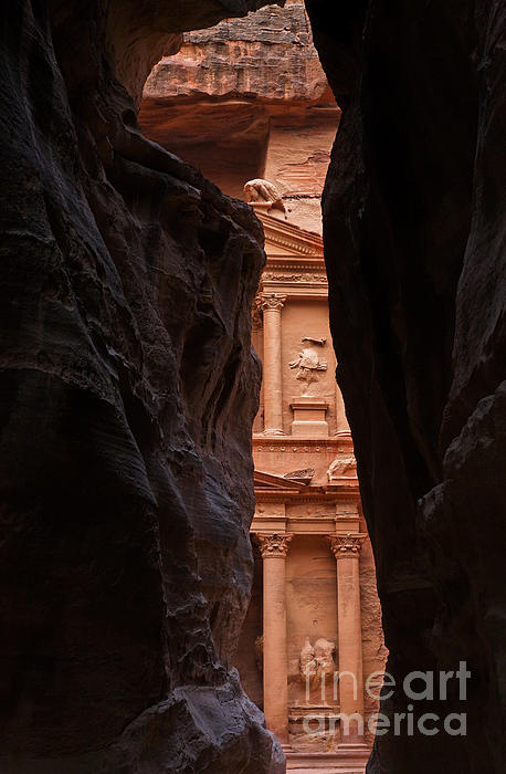 A Glimpse Of Al Khazneh From The Siq In Petra Jordan Print by Robert Preston