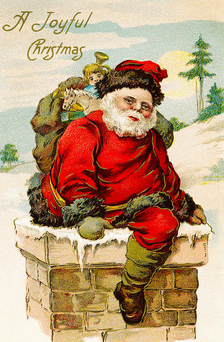 A Joyful Christmas Print by Vintage Christmas Card