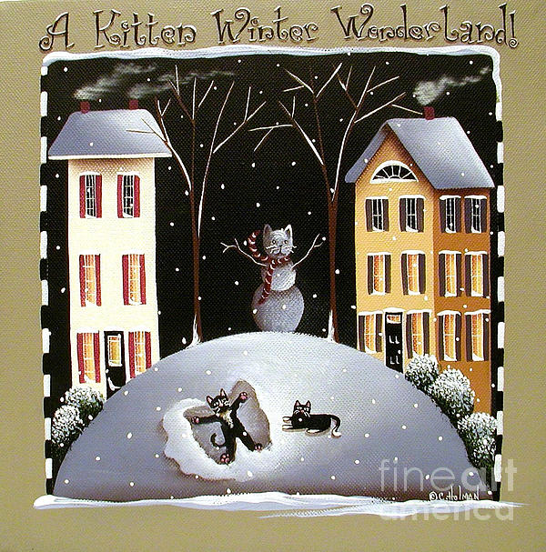 A Kitten Winter Wonderland Print by Catherine Holman