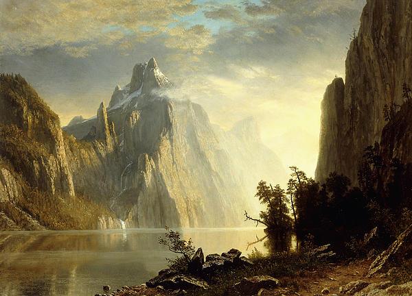 A Lake In The Sierra Nevada Print by Albert Bierstadt