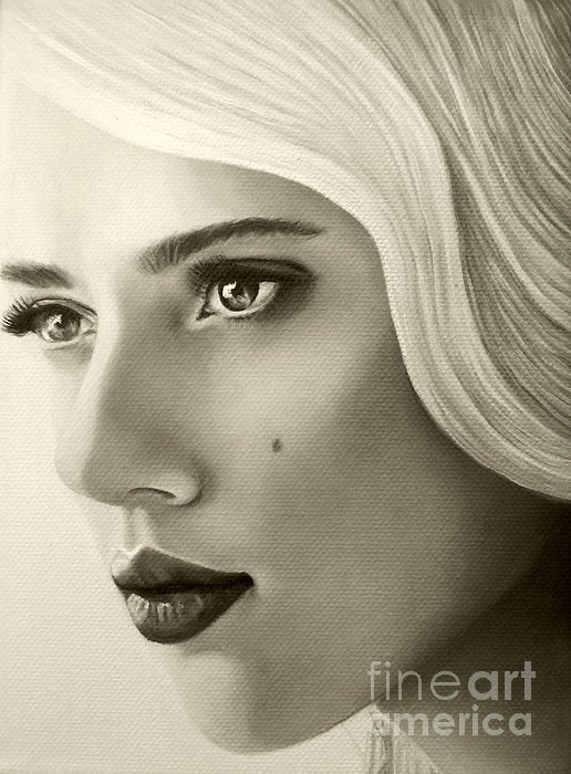 A Mark Of Beauty - Scarlett Johansson Print by Malinda Prudhomme