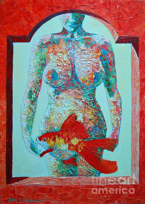 A Muse Came To My Window And Told Me To Paint A Fish Print by Ana Maria Edulescu
