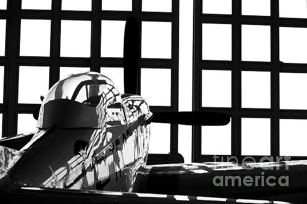 A P-51 Mustang Parked In An Aircraft Print by Timm Ziegenthaler