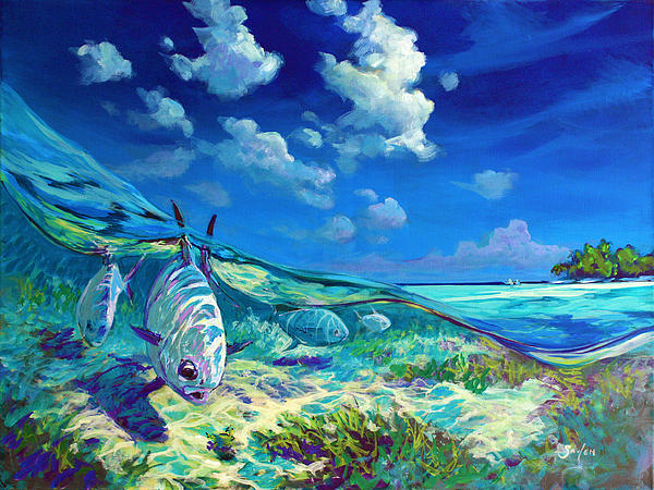 A Place I'd Rather Be - Caribbean Permit Fly Fishing Painting Print by Mike Savlen