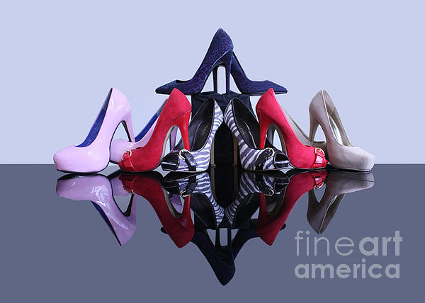 A Pyramid Of Shoes Print by Terri  Waters