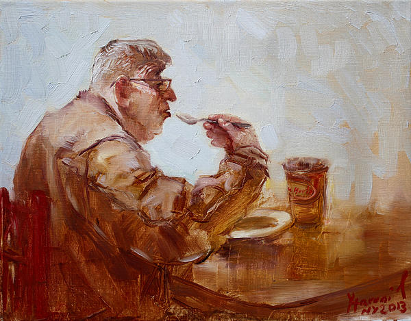 A Soupe Break At Tim Hortons Print by Ylli Haruni
