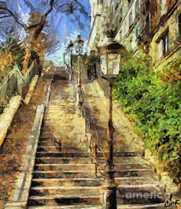 A Stairway In Montmartre Print by Dragica  Micki Fortuna