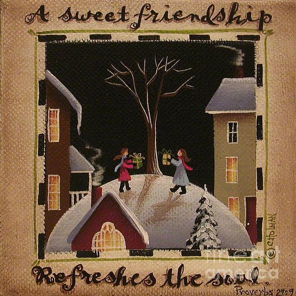 A Sweet Friendship  Winter Print by Catherine Holman