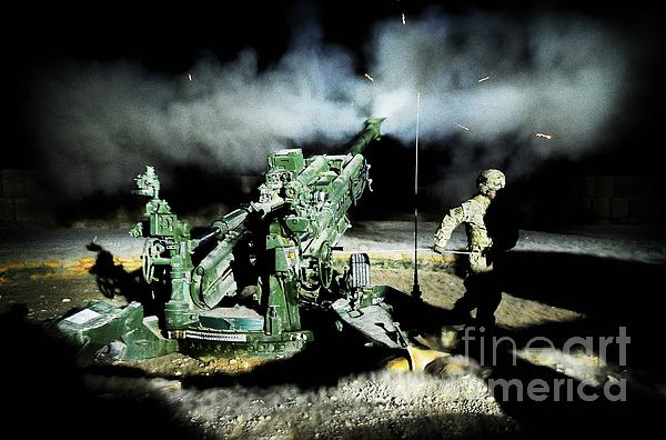 A United States Gun Crew Fire Illumination Rounds At Forward Operating Base Hadrian Print by Paul Fearn