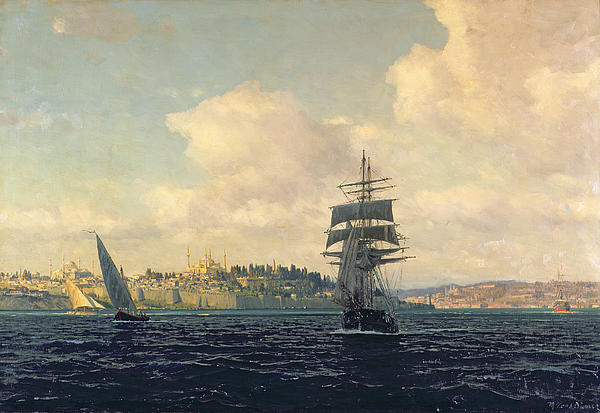 A View Of Constantinople Print by Michael Zeno Diemer