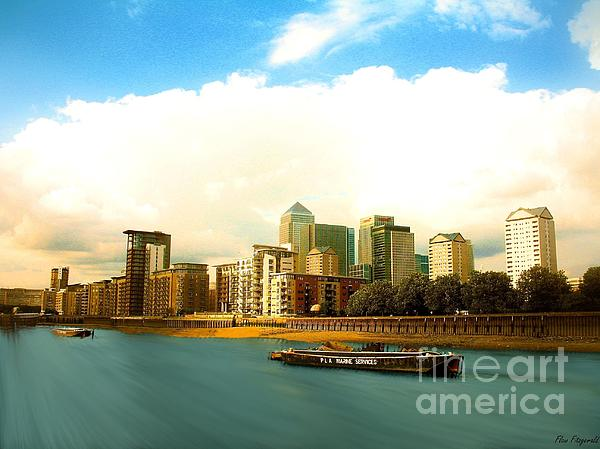 A View Over The River Thames Of Canary Wharf London Docklands England Print by Flow Fitzgerald