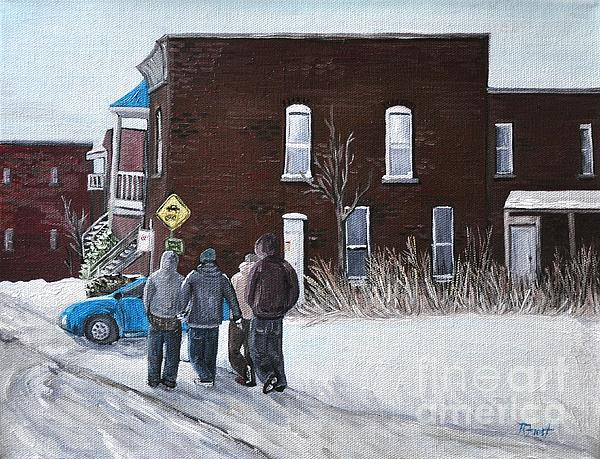 A Winter Walk In Montreal Print by Reb Frost