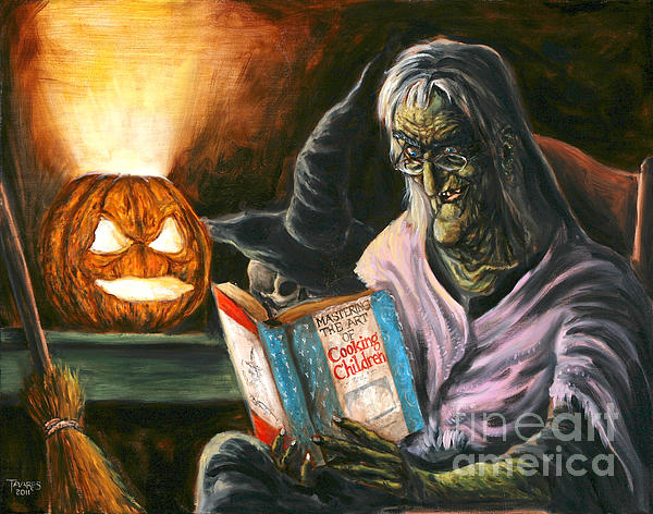 A Witch Reading Print by Mark Tavares