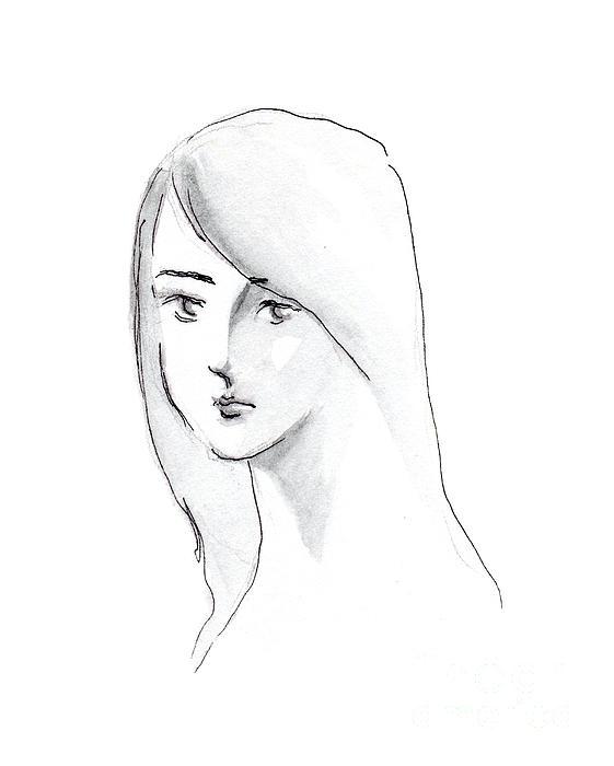 A Woman With Long Hair Print by Jingfen Hwu