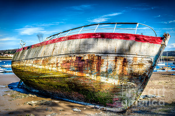 Abandoned Boat Print by Adrian Evans