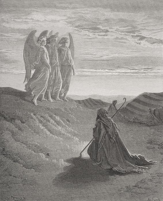 Abraham And The Three Angels Print by Gustave Dore