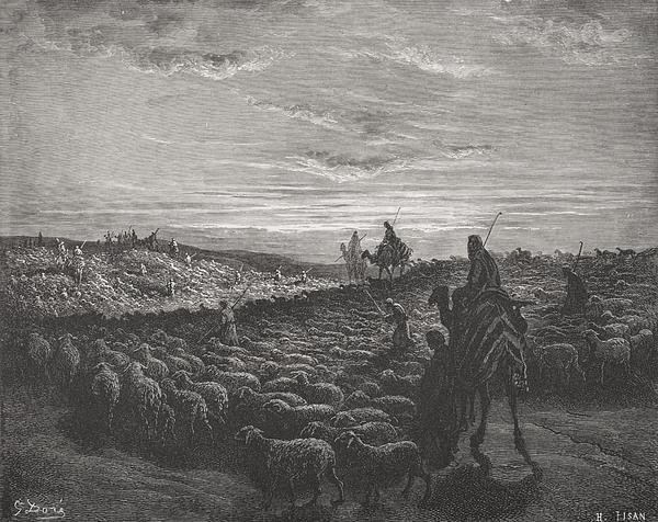 Abraham Journeying Into The Land Of Canaan Print by Gustave Dore