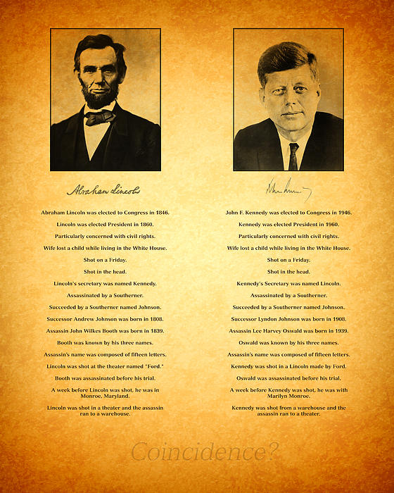 Abraham Lincoln And John F Kennedy Presidential Similarities And Coincidences Conspiracy Theory Fun Print by Design Turnpike