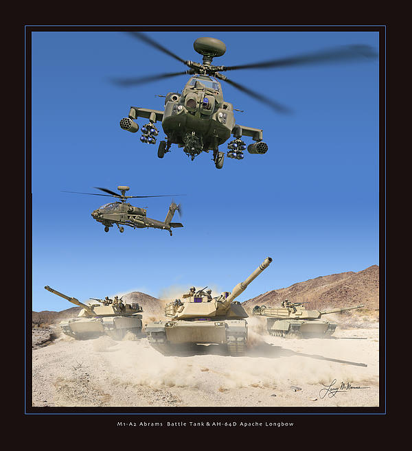 Abrams Battle Tank And Apache Longbow Print by Larry McManus