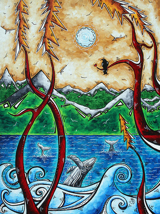 Abstract Art Original Alaskan Wilderness Landscape Painting Land Of The Free By Madart Print by Megan Duncanson