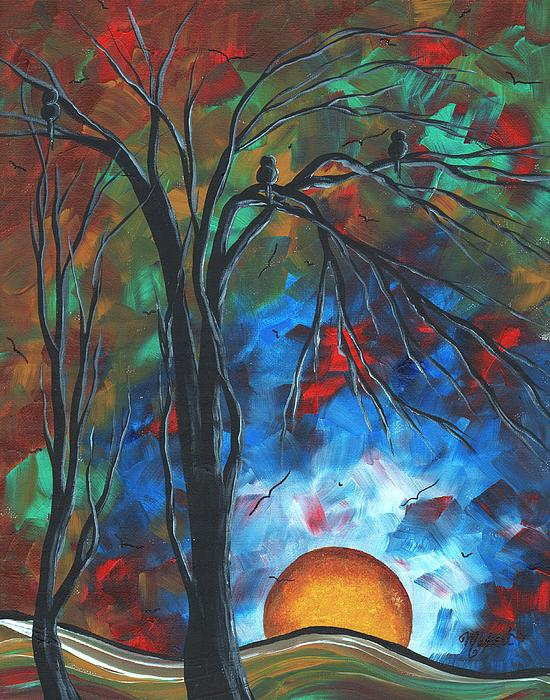 Abstract Art Original Colorful Bird Painting Spring Blossoms By Madart Print by Megan Duncanson