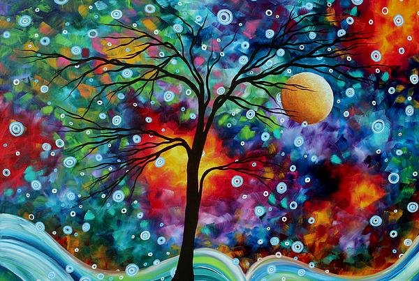Megan Duncanson - Abstract Art Original Colorful Landscape Painting A MOMENT IN TIME by MADART