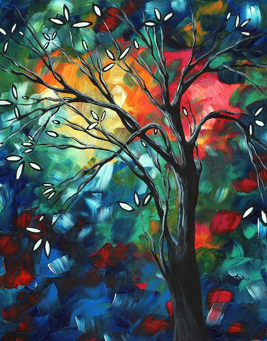 Abstract Art Original Colorful Painting Spring Blossoms By Madart Print by Megan Duncanson
