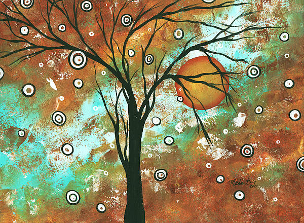 Abstract Art Original Landscape Painting Bold Circle Of Life Design Autumns Eve By Madart Print by Megan Duncanson