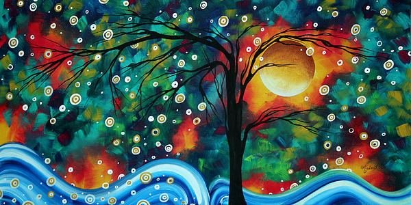 Abstract Art Original Landscape Painting Bold Circle Of Life Design Dance The Night Away By Madart Print by Megan Duncanson