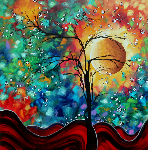 Megan Duncanson - Abstract Art Original Whimsical Modern Landscape Painting BURSTING FORTH by MADART