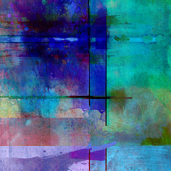 abstract-art-Rhapsody in Blue Square  Print by Ann Powell