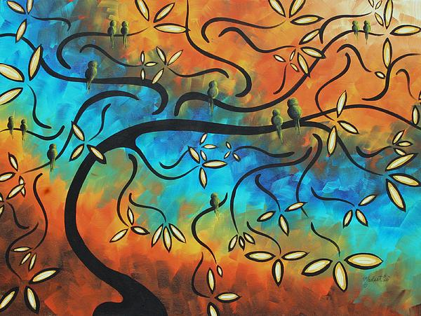 Abstract Bird Painting Original Art Madart Tree House Print by Megan Duncanson