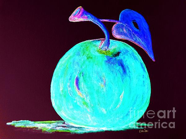 Abstract Blue And Teal Apple Print by Eloise Schneider