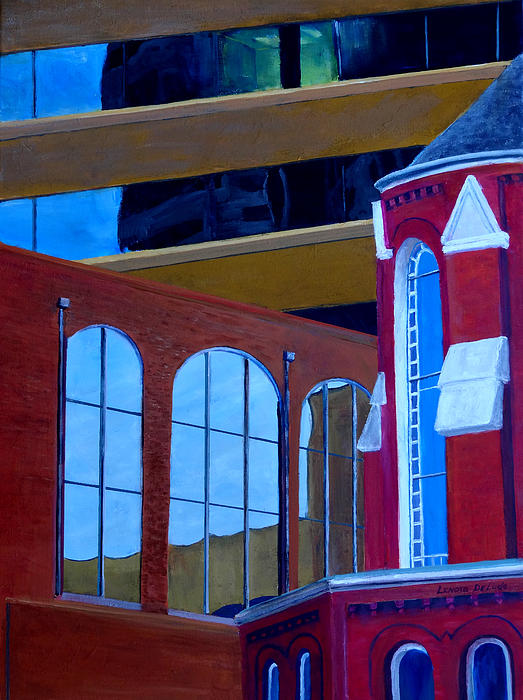 Abstract City Downtown Shreveport Louisiana Urban Buildings And Church Print by Lenora  De Lude