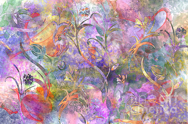 Abstract Floral Designe  Print by Debbie Portwood