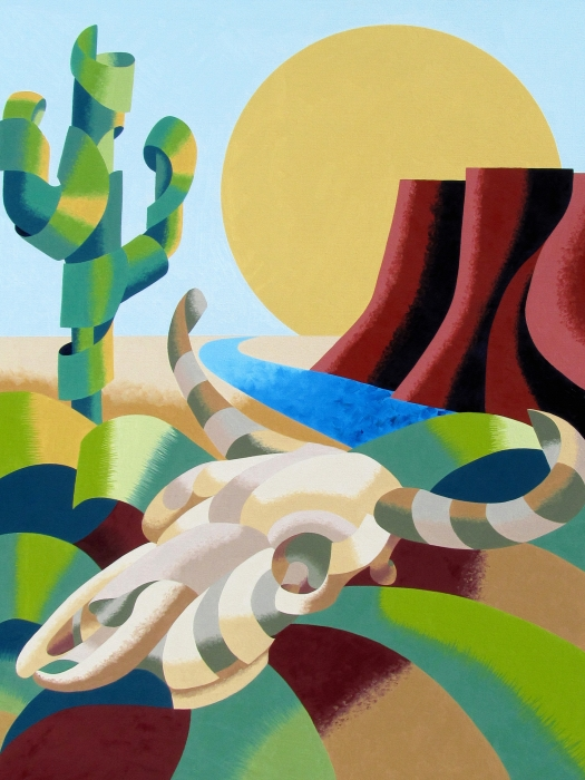 Abstract Futurist Soutwestern Desert Landscape Oil Painting  Print by Mark Webster