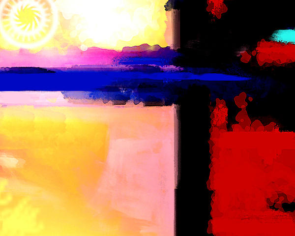 Abstract Impressions Of A Blue Horizon Print by Karon Melillo DeVega