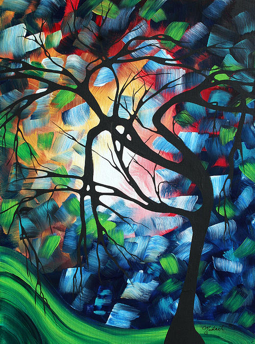 Abstract Landscape Art Original Colorful Painting Tree Maze By Madart Print by Megan Duncanson
