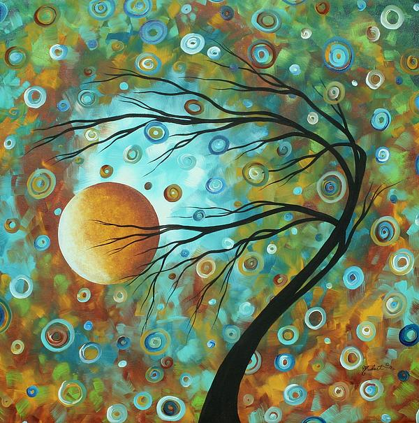 Abstract Landscape Circles Art Colorful Oversized Original Painting Pin Wheels In The Sky By Madart Print by Megan Duncanson