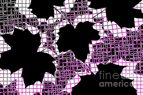 Abstract Leaf Pattern - Black White Pink Print by Natalie Kinnear
