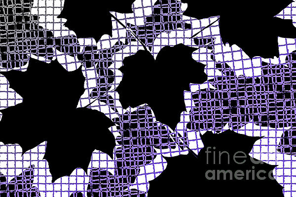 Abstract Leaf Pattern - Black White Purple Print by Natalie Kinnear