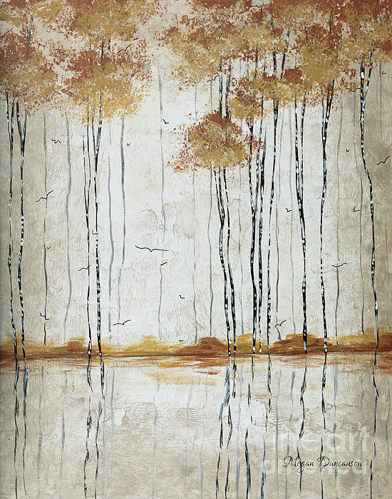 Abstract Neutral Landscape Pond Reflection Painting Mystified Dreams I By Megan Ducanson Print by Megan Duncanson