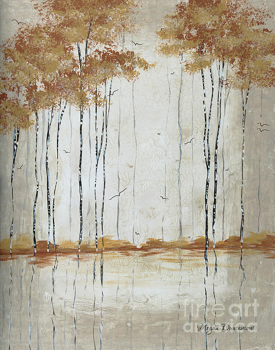 Abstract Neutral Landscape Pond Reflection Painting Mystified Dreams II By Megan Ducanson Print by Megan Duncanson