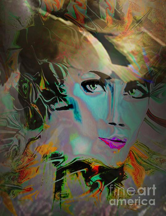 Abstract Portrait Of A Blue Lady Print by Doris Wood
