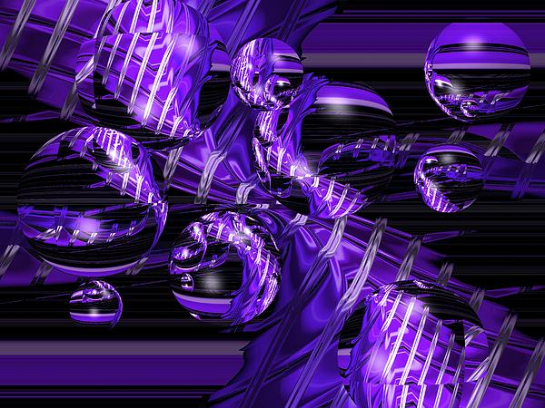 Abstract Purple Vortex With Bubbles Print by Darrell Arnold