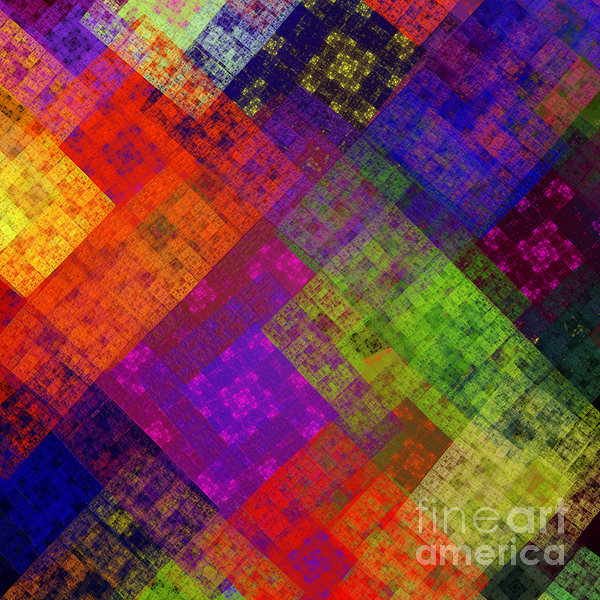 Abstract - Rainbow Infusion - Square Print by Andee Design