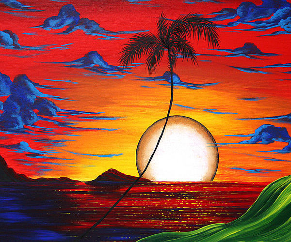Abstract Surreal Tropical Coastal Art Original Painting Tropical Resonance By Madart Print by Megan Duncanson