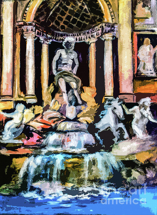Abstract Trevi Fountain Rome Italy Print by Ginette Callaway
