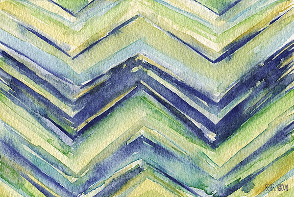 Abstract Watercolor Painting - Blue Yellow Green Chevron Pattern Print by Beverly Brown Prints